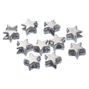 YC 200 Silver Tone Charm Spacer Beads Five-pointed Star Shape 6x6mm Loose Metal Beads Craft DIY Jewellery Making Findings Charms Pendants
