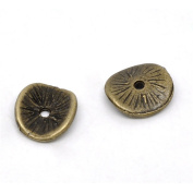 YC 100 Bronze Tone Tortuose Carved Flat Spacer Beads Millstone Shape 10x9mm Loose Metal Beads Craft DIY Jewellery Making Findings Charms Pendants