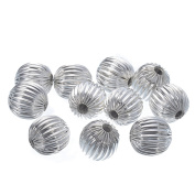 YC 50 Silver Plated Corrugated Round Spacer Beads 10mm Loose Metal Beads Craft DIY Jewellery Making Findings Charms Pendants