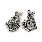Packet of 10 x Antique Silver Tibetan 27mm Charms Pendants (Dragon) - (Y08060) - Charming Beads