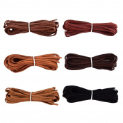 3 mm x 5 m Leather Cord String for Bracelet Necklace Beading Jewellery DIY Handmade Crafts, 6 Pieces, 6 Colours