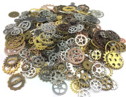 Efivs Arts 200 Gramme Antiqued Gears Wheels Skeleton Steampunk Clock Watch Gears Cog Wheel Pendant Charms, Assorted Colours for DIY Crafts, Jewellery Making, Steampunk Charms