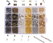 BIHRTC 24 Style 1940 Pcs Jewellery Making DIY Kit Accessories Lobster Clasps, Screw Eyes Pin, Cord Ends, Ribbon Ends, Jump Rings, Extension chain with Jump Ring Open Tool in a Clear Box