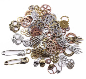 BIHRTC 140 Gramme (Approx 92pcs) DIY Assorted Colour Antique Metal Steampunk Watch Gear Cog Wheel Skull Musical Note Skull Hand Safety Pin Charms Pendant for Crafting, Jewellery Making Accessory
