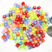 Visork Mixed Acrylic Alphabet Letter Beads Spacer Beads Square Loose Beads For DIY Bracelets Jewellery Making Beading Craft 200 Grain
