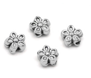 YC 50PCs Antique Silver Flower Charms Spacers Beads 7mm