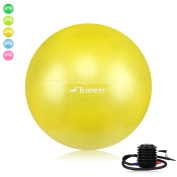 Exercise Ball (45-85cm), Extra Thick & Anti-Slip & Anti-Burst Swiss Ball (9 Colours), Heavy Duty Ball Chair Supports 910kg, Trideer High-Quality Birthing Ball with Quick Pump