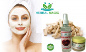 100% PURE & NATURAL YELLOW SANDALWOOD POWDER (50G) + PURE ROSE WATER (200ML)- WRINKLE & BLEMISH FREE SKIN NATURALLY - MAGIC OF HERBS ONLY BY HERBALMAGIC + PROFESSIONAL NO COST HAIR CARE TIPS (ON DEMAND) + GMP/HALAL/ISO CERT PRODUCE