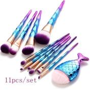 Eye Brush Set Unicorn JYC Brush Set Including Eyebrow Eyeliner Face Brush 10PC+1PC Mermaid Makeup Brushes