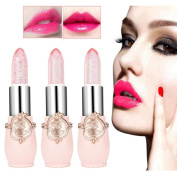 Magic Temperature Change Colour Lip Gloss, 3Pcs Beauty Bright Flower Crystal Jelly Cosmetic Lipstick Lip Stains, Long Lasting Makeup Lip sticks