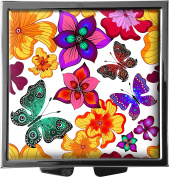 metALUm Pillbox / square / Model Marco / Graphic of flowers and butterflies / 41010015