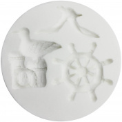 Funshowcase Nautical Beach Seagull and Ship wheel Candy Silicone Mould 10x10x1.5cm