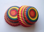 New 50 count Mini Colourful Circle Cupcake Liners Baking Cups Candy Truffle Stripe Kid