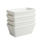 Kitchen 4 Mini White 270ml Rectangular Solid Porcelain Ceramic Bake Meat Loaf Pan