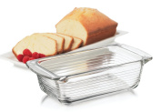 Kitchen Rectangular Clear Thick Glass Bake Meat Loaf Dish Pan with Handle