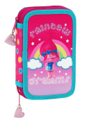 Trolls 411759854 Tier Filled Pencil Case with Contents 28pcs, Double compartment