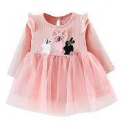 squarex Toddler Kids Baby Girls Rabbit Clothes Long Sleeve Party Princess Dancing Dresses