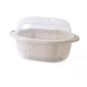 CJH Plastic Wash Fruit Drain Basket With Lid Double Wash Basket Fruit Plate Drain Basin Large Beige