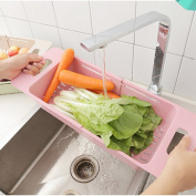 DAYNECETY 1pc Plastic Sink Drainer Tray Vegetable Fruit Washing Drain Racks Basket Daining Board Extenable