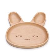 CJH Wooden Baby Child Plate Sub-lattice Cute Cartoon Tableware Creative Home Baby Food Plate