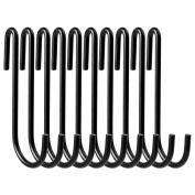 VDOMUS Pot Rack Hooks Black S Style for Kitchen Pot Hanging, Set of 10