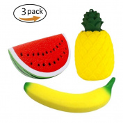 Eshylala 3 Pcs Friut Squishy Toy Banana Pineapple Watermelon Stress Reliever Super Soft Slow Rising Toys Squeeze Toys Cream Scented Slow Rising Decompression Squeeze Toys