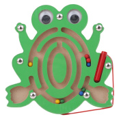 Meolin Children Magnetic Maze Puzzle Educational Wooden Maze Racing Game Toy Mini Wooden Animal Shape Board Maze ,frog,5.915.710.47inc