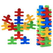 Baby Wooden Toys Blocks Balance Game 16Pcs Building Blocks Early Educational Brick Toys Table Game Christmas Gift for Toddlers