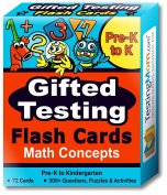 Gifted Testing Flash Cards – Math Concepts for Pre-K – Kindergarten – Educational Toy Practise for CogAT test, OLSAT test, ITBS, NYC Gifted and Talented, WISC, WPPSI