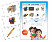 Classroom Flashcards in German Language - Flash Cards with Matching Bingo Game for Toddlers, Kids, Children and Adults - Size 4.13 × 15cm - DIN A6