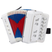 Accordion for Children - 7 Keys Kids Piano Accordion, Musical Instruments for Kids, Suitable for Beginners and Children, Includes Instruction Booklet, White, 6.77 x 10cm x 17cm