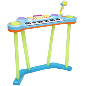 Costzon 2 In 1 Electronic Keyboard and Drum Musical 37-Key Toy Electronic Organ Piano and Drum with Microphone and Flashing Legs