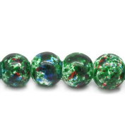 The Bead and Button Box - 45g 125 Dark Green Colour Glass Marbled Beads 6mm. I deal for Jewellery Making, Decoration and other Crafts.
