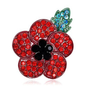 Brooch Red Poppy Flower Rhinestone Shiny Natural Shawl Clip Clothing Accessories Brooch Pin For Women Bobury