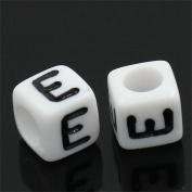 YC 500pcs 6x6mm Acrylic Cube Beads White Beads