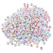 YC 500pcs 7×7mm Round Polished Acrylic Letter Beads Alphabet Beads