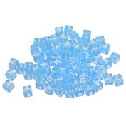 YC 300pcs 6x6mm Mixed Acrylic Cube Beads Blue Beads White Letter
