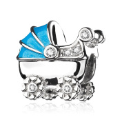 ATHENAIE 925 Sterling Silver with CZ Light Blue Enamel Baby's Pram Bead Charms