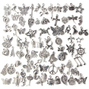Beetest-100 PCS Antique Silver Mixed Pendants Charms for Necklace Jewellery DIY Making Decoration Accessories Random Style