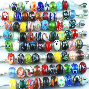 Silver Colour Murano Glass Beads Fit European Charm Bracelet Spacer by eART 50pcs Mix