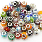 Mix Murano Glass Beads Fit European Charm Bracelet Silver Colour Spacer by eART 100 pcs
