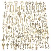 Jeteven 125 PCS Vintage Skeleton Keys Bronze Antique Charm Keys Pendants Set for DIY Handmade Necklace Pendants