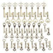 Jeteven 48 PCS Vintage Skeleton Keys Bronze Antique Charm Keys Pendants Set for DIY Handmade Necklace Pendants