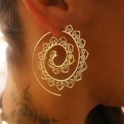 ODN Round Spiral Drop Earrings Exaggerated Love Heart Whirlpool Gear Earrings for Women Jewellery