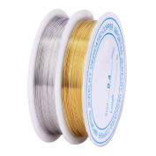 Outflower 2pcs Tarnish Resistant Copper Wire Bare Copper Wire Beading Wires 0.4 mm*18 Metres