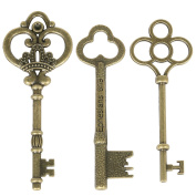 TRIXES 30PC Vintage Bronze Decorative Key Charms for Wedding Favours Card Making and Hand Crafts