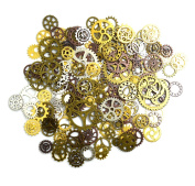 euhuton 100 Gramme Multicoloured Assorted Antique Watch Parts Steampunk Cogs Gears Wheel Charms Pendant for DIY Jewellery Craft