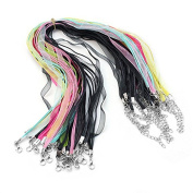 DWE Ribbon ,20 Pcs Mix Colour Spinning Craft Organza Silk Ribbon Necklaces Chain Cord Lobster Clasp