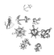 10pcs Nautical Helm Anchor Shapes Charms for Jewellery Making Antique Silver