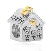 Love Family House Charm Solid 925 Sterling Silver Sweet Home Bead with Gold Heart Charms